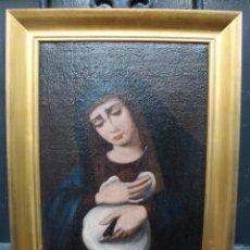 Arte: OLEO SOBRE LIENZO REENTELADO VIRGEN DOLOROSA CON GOLONDRINA EN SUS MANOS - SIGGLO XVIII XIX. Lote 41684003