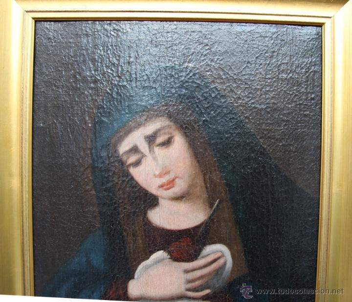 Arte: OLEO SOBRE LIENZO REENTELADO VIRGEN DOLOROSA CON GOLONDRINA EN SUS MANOS - SIGGLO XVIII XIX - Foto 2 - 41684003