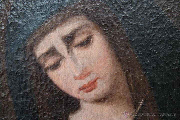 Arte: OLEO SOBRE LIENZO REENTELADO VIRGEN DOLOROSA CON GOLONDRINA EN SUS MANOS - SIGGLO XVIII XIX - Foto 3 - 41684003