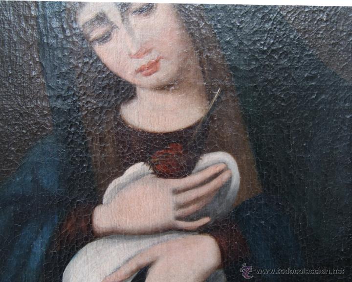Arte: OLEO SOBRE LIENZO REENTELADO VIRGEN DOLOROSA CON GOLONDRINA EN SUS MANOS - SIGGLO XVIII XIX - Foto 4 - 41684003