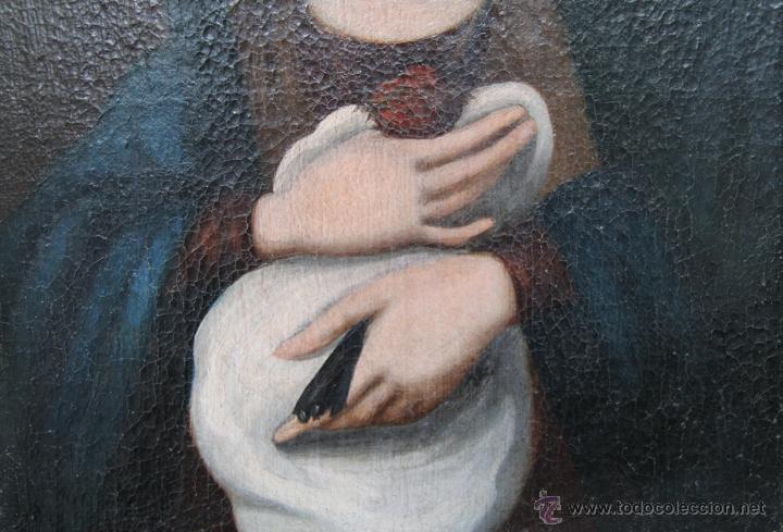 Arte: OLEO SOBRE LIENZO REENTELADO VIRGEN DOLOROSA CON GOLONDRINA EN SUS MANOS - SIGGLO XVIII XIX - Foto 5 - 41684003