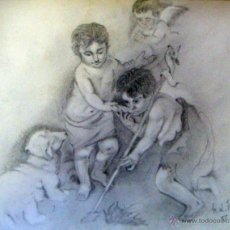 Arte: PRECIOSO DIBUJO DEL NIÑO JESUS Y SAN JUANITO - ANTIGUO. Lote 41713067