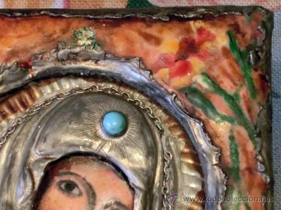 Arte: PEQUEÑO ICONO ESMALTADO. VIRGEN. ARTESANAL LATÓN Y ESMALTE MUY COLORIDO - Foto 5 - 76426238
