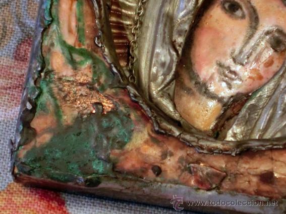 Arte: PEQUEÑO ICONO ESMALTADO. VIRGEN. ARTESANAL LATÓN Y ESMALTE MUY COLORIDO - Foto 6 - 76426238