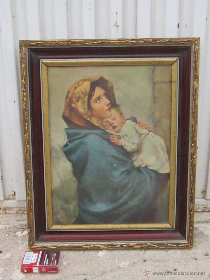 VIRGEN CON NIÑO EN LAMINA (Arte - Arte Religioso - Pintura Religiosa - Otros)