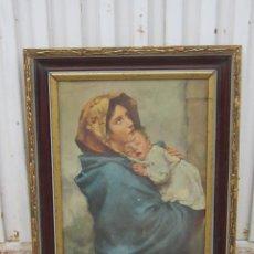 Arte: VIRGEN CON NIÑO EN LAMINA. Lote 42063425