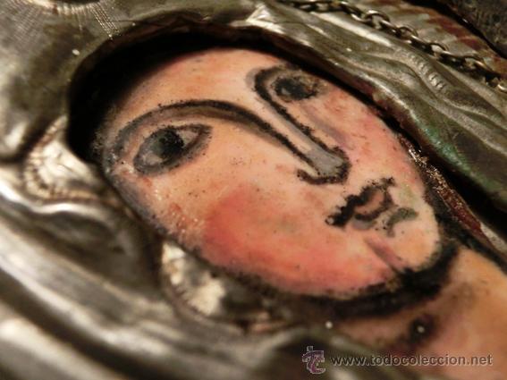Arte: PEQUEÑO ICONO ESMALTADO. VIRGEN. ARTESANAL LATÓN Y ESMALTE MUY COLORIDO - Foto 18 - 76426238