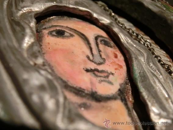 Arte: PEQUEÑO ICONO ESMALTADO. VIRGEN. ARTESANAL LATÓN Y ESMALTE MUY COLORIDO - Foto 19 - 76426238