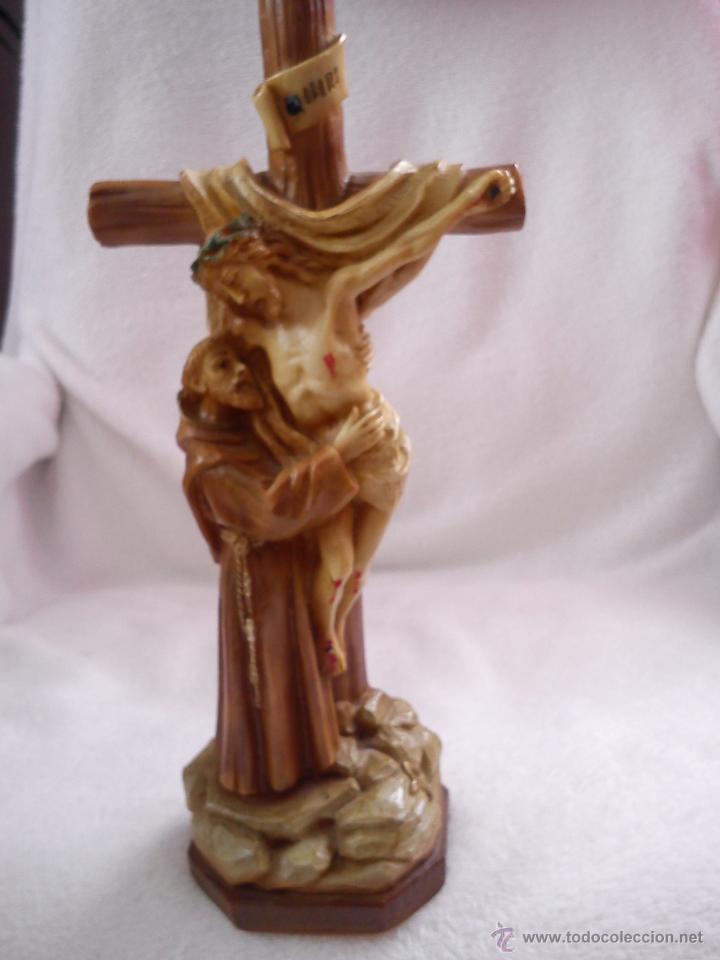 Arte: PRECIOSA ESCULTURA DE JESUS CRISTO CON San Francisco de asis.HECHA DE RESINA SELLADA AÑO 1992 - Foto 2 - 42144826