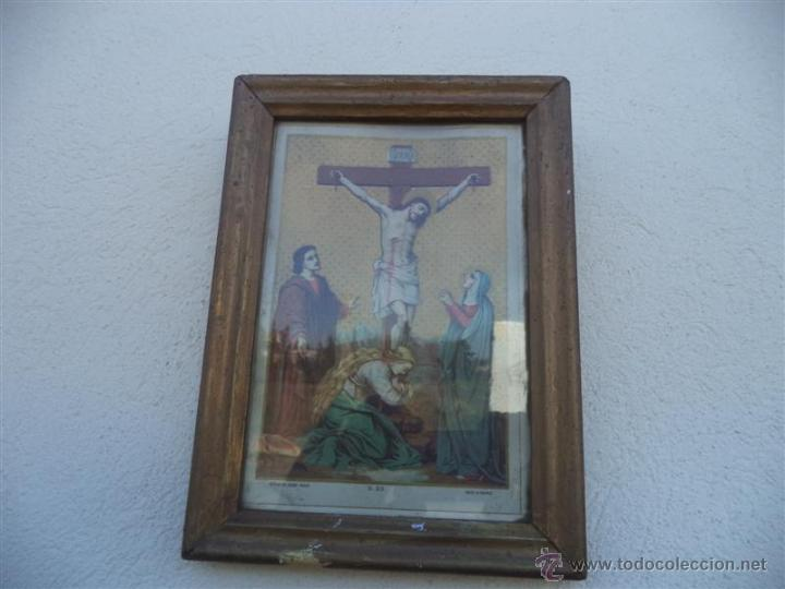 ANTIGUA LAMINA RELIGIOSA Y MARCOS (Arte - Arte Religioso - Pintura Religiosa - Otros)