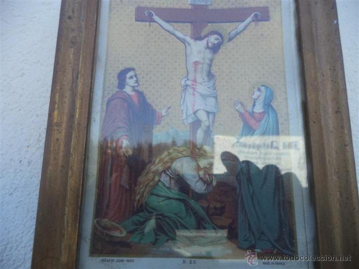 Arte: antigua lamina religiosa y marcos - Foto 2 - 42169887