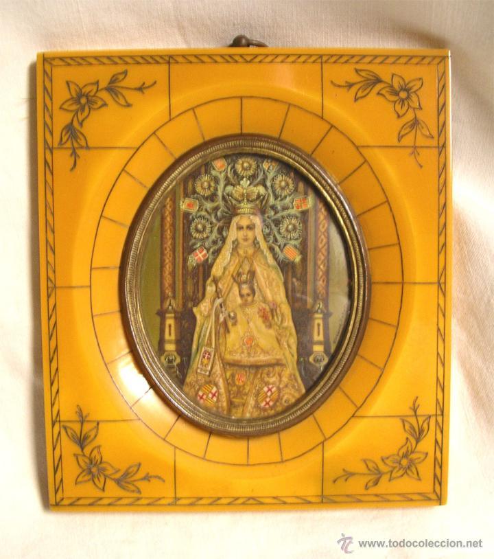VIRGEN DE LA MERCED S XIX PINTADA OLEO SOBRE MARFIL, MARCO CAREY. MED. 11 X 12,50 CM (Arte - Arte Religioso - Pintura Religiosa - Oleo)