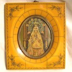 Arte: VIRGEN DE LA MERCED PINTADA AL OLEO SOBRE MARFIL, MARCO CAREY. MED. 11 X 12,50 CM. Lote 42325391
