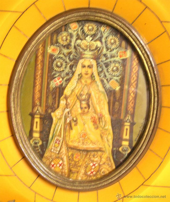 Arte: Virgen de la Merced S XIX pintada Oleo sobre Marfil, marco Carey. Med. 11 x 12,50 cm - Foto 2 - 42325391