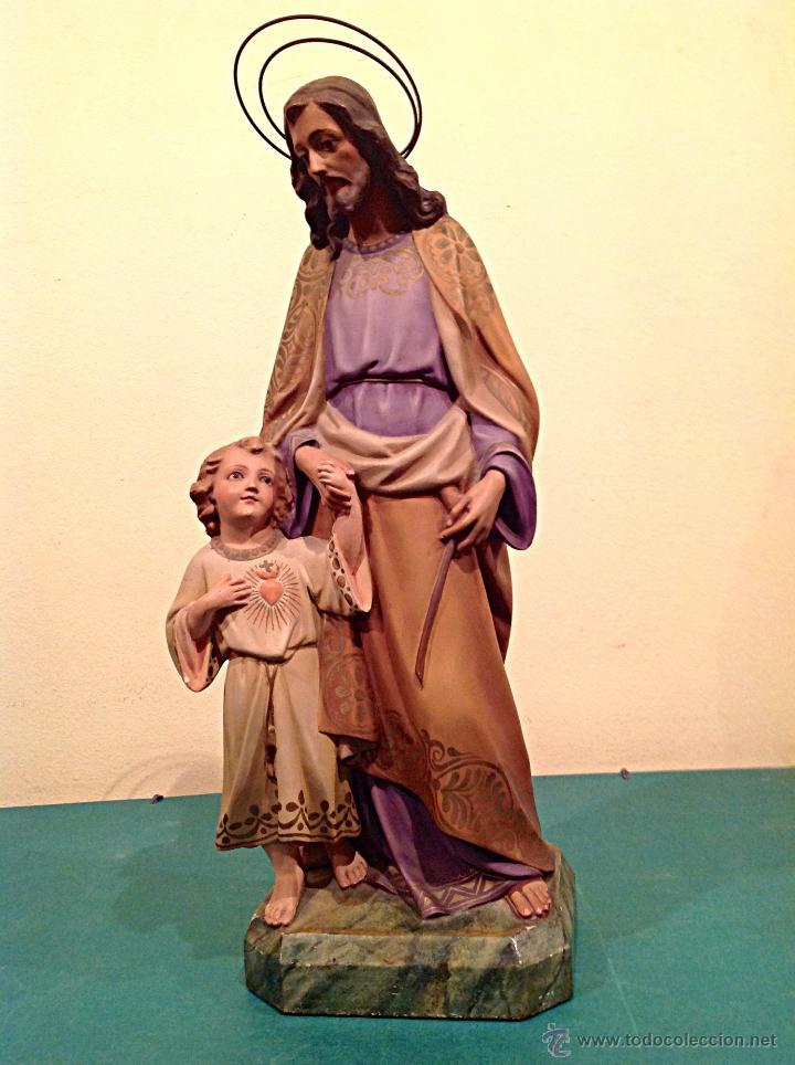 ANTIGUA FIGURA ESCULTURA RELIGIOSA SAN JOSÉ CON EL NIÑO MEDIDAS 46CMX17CM (Arte - Arte Religioso - Escultura)