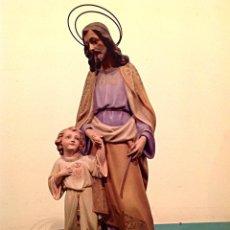 Arte: ANTIGUA FIGURA ESCULTURA RELIGIOSA SAN JOSÉ CON EL NIÑO MEDIDAS 46CMX17CM. Lote 42329965