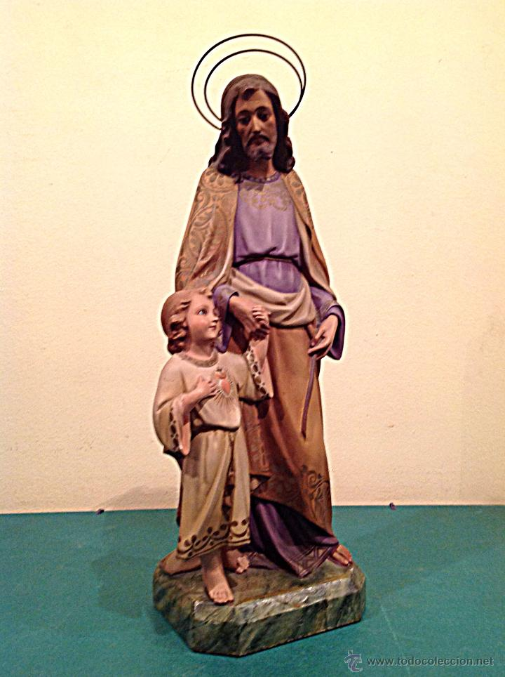 Arte: Antigua Figura Escultura Religiosa San José Con El Niño Medidas 46cmx17cm - Foto 3 - 42329965