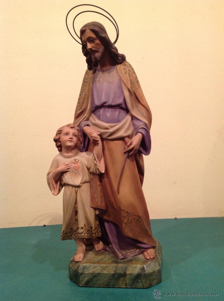 Arte: Antigua Figura Escultura Religiosa San José Con El Niño Medidas 46cmx17cm - Foto 5 - 42329965