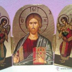 Arte: ANTIGUO TRÍPTICO TALLADO EN MADERA Y CON LA IMAGEN DE CRISTO Y DOS ANGELES EN PAN DE ORO - LIMITADA-. Lote 42336119