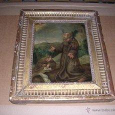 Arte: (M) ANTIGUO CUADRO RELIGIOSO PINTADO SOBRE COBRE S. XVIII- CON SU MARCO DORADO 31,5X27 CM. COBRE. Lote 42458033