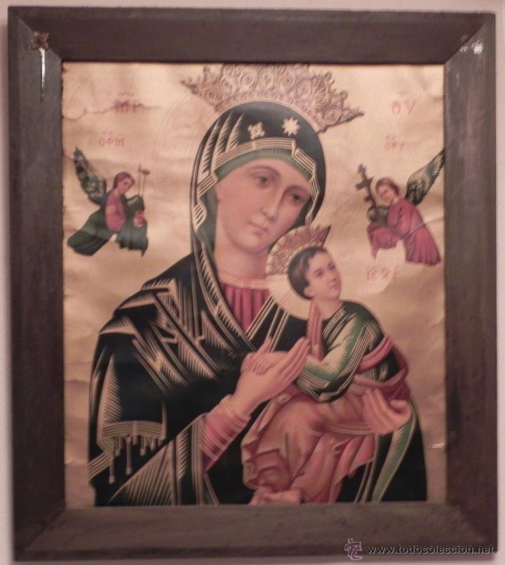 VENDO CUADRO ANTIGÜO DE LA VIRGEN DEL PERPETUO SOCORRO (FECHA SIN DATAR). INCLUIDO MARCO. (Arte - Arte Religioso - Pintura Religiosa - Otros)