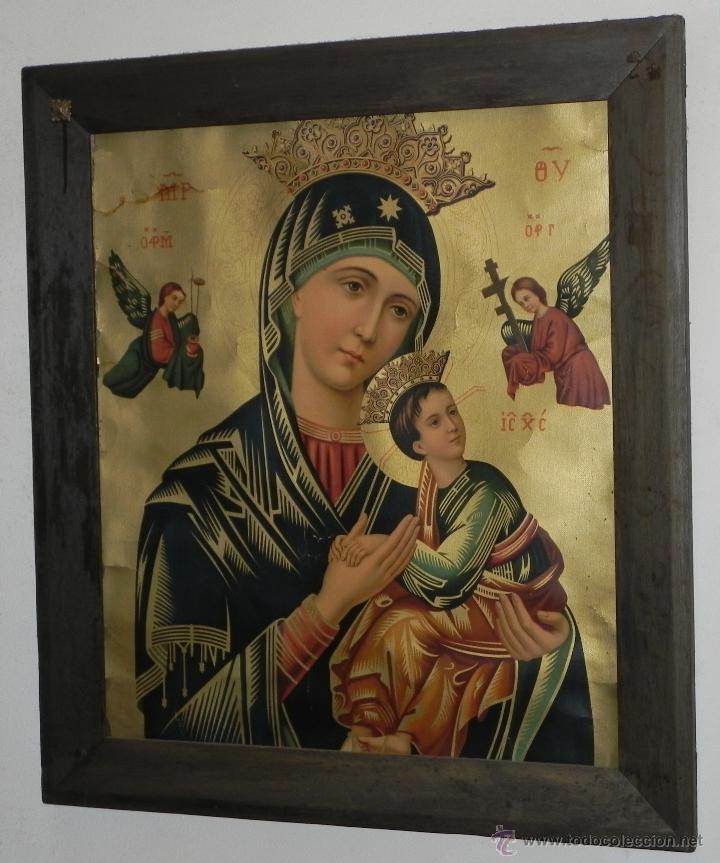Arte: Vendo Cuadro Antigüo de la Virgen del Perpetuo Socorro (Fecha sin datar). Incluido Marco. - Foto 2 - 42638230