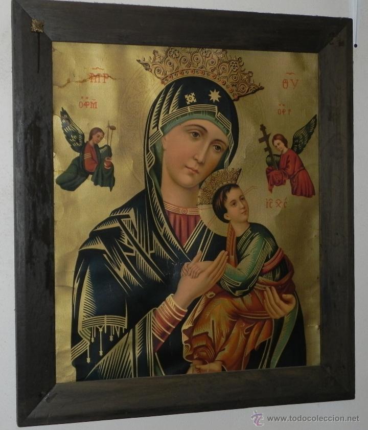 Arte: Vendo Cuadro Antigüo de la Virgen del Perpetuo Socorro (Fecha sin datar). Incluido Marco. - Foto 3 - 42638230