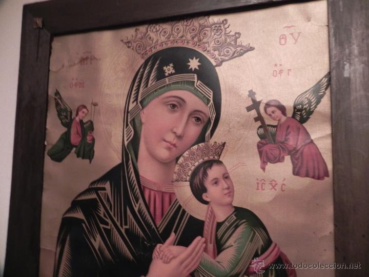 Arte: Vendo Cuadro Antigüo de la Virgen del Perpetuo Socorro (Fecha sin datar). Incluido Marco. - Foto 4 - 42638230
