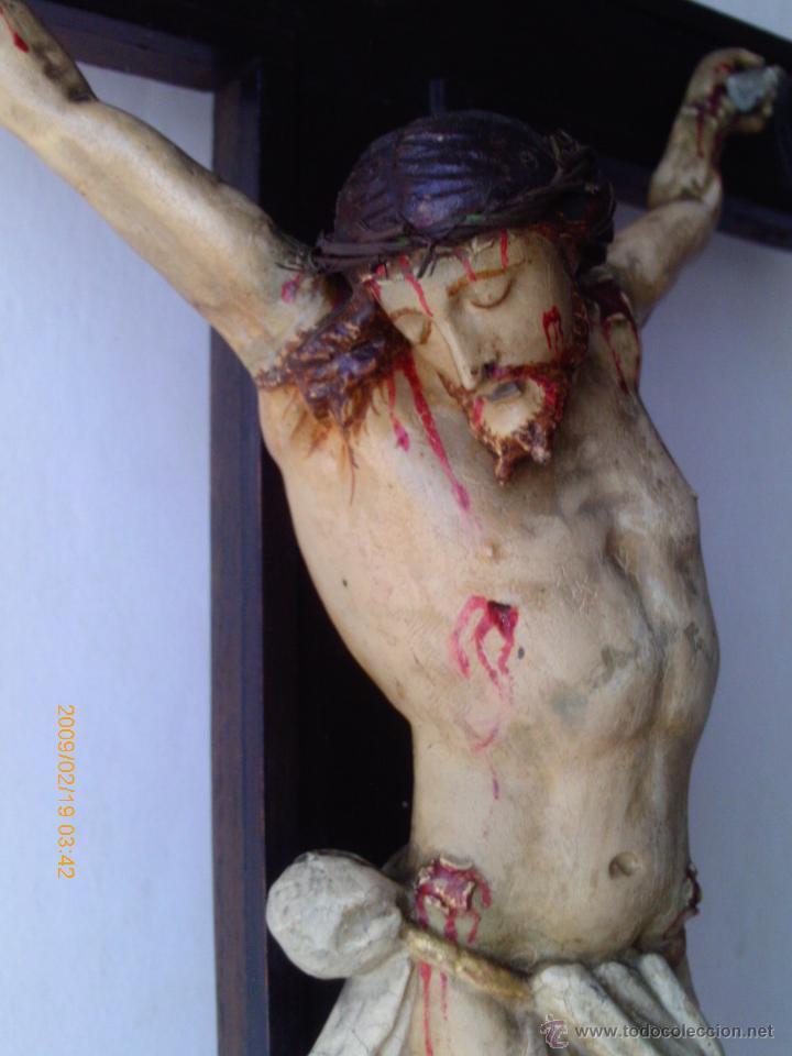 CRISTO CRUCIFICADO S.XVII - XVIII -ESCUELA GENOVESA -TALLA MADERA - POLICROMADA - CRUCIFIJO (Arte - Arte Religioso - Escultura)