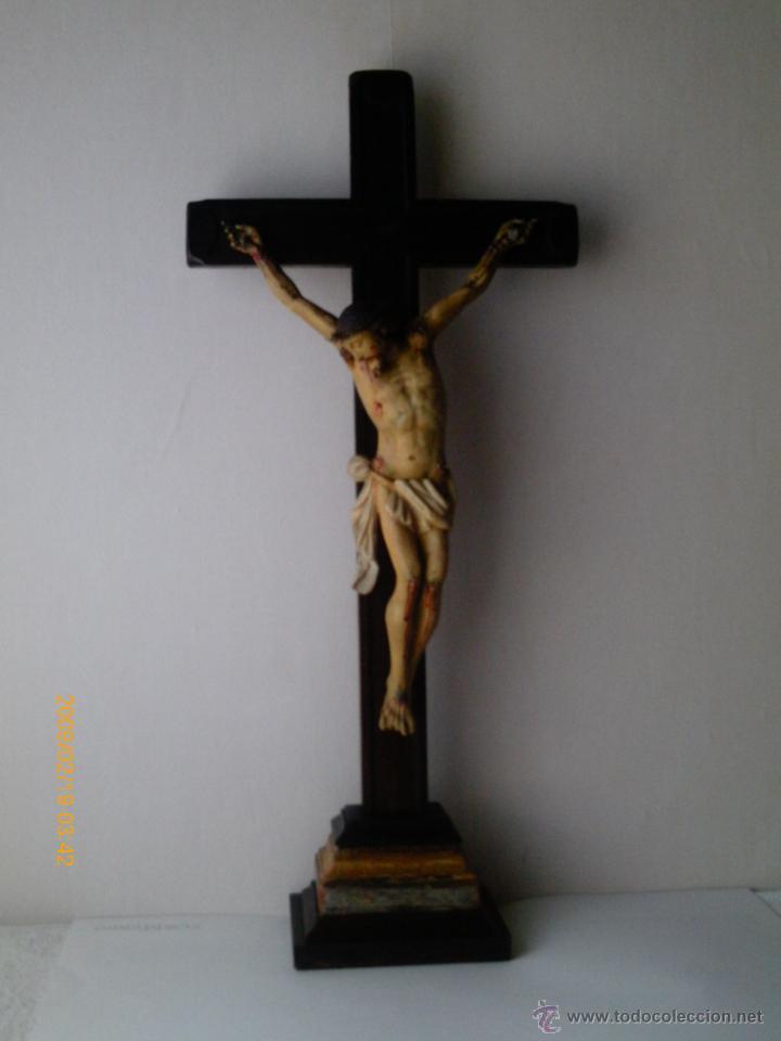 Arte: CRISTO CRUCIFICADO S.XVII - XVIII -ESCUELA GENOVESA -TALLA MADERA - POLICROMADA - CRUCIFIJO - Foto 7 - 171695162