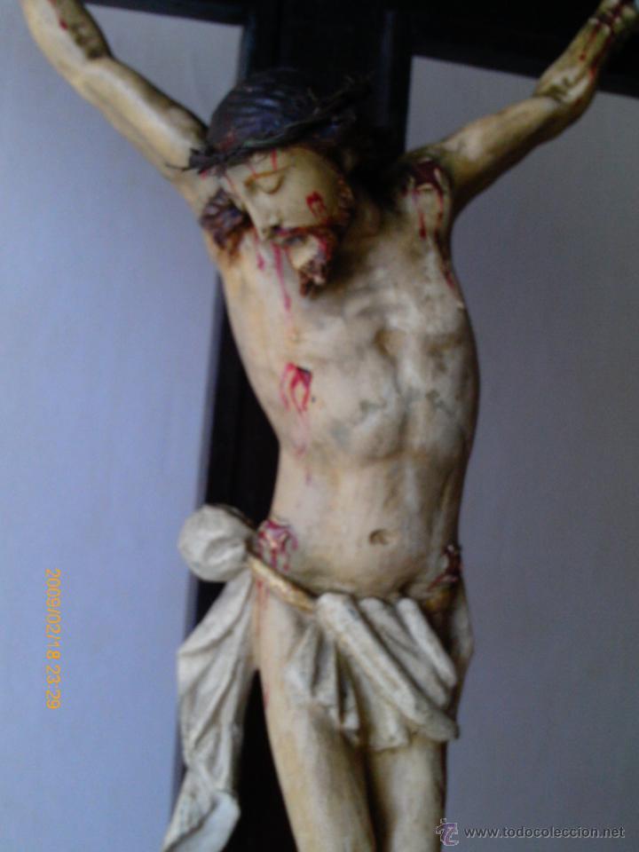 Arte: CRISTO CRUCIFICADO S.XVII - XVIII -ESCUELA GENOVESA -TALLA MADERA - POLICROMADA - CRUCIFIJO - Foto 8 - 171695162