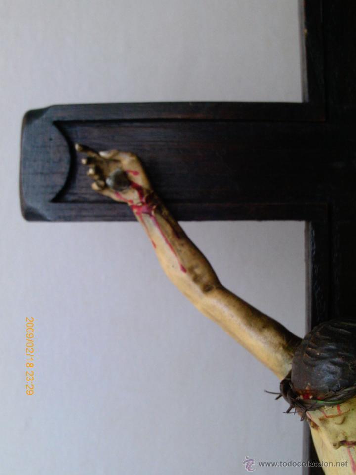 Arte: CRISTO CRUCIFICADO S.XVII - XVIII -ESCUELA GENOVESA -TALLA MADERA - POLICROMADA - CRUCIFIJO - Foto 11 - 171695162