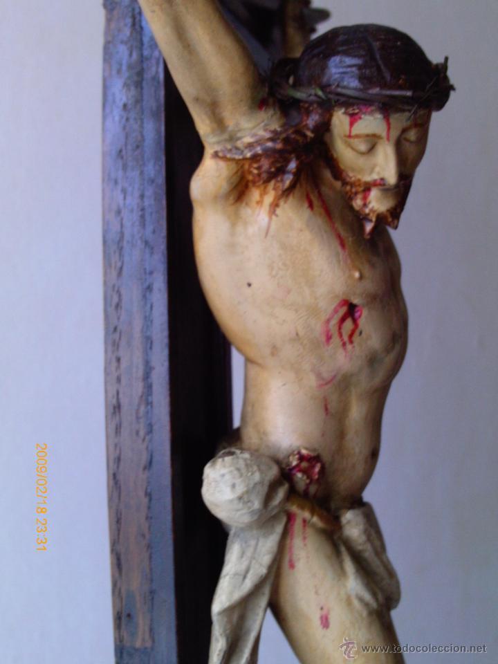 Arte: CRISTO CRUCIFICADO S.XVII - XVIII -ESCUELA GENOVESA -TALLA MADERA - POLICROMADA - CRUCIFIJO - Foto 15 - 171695162