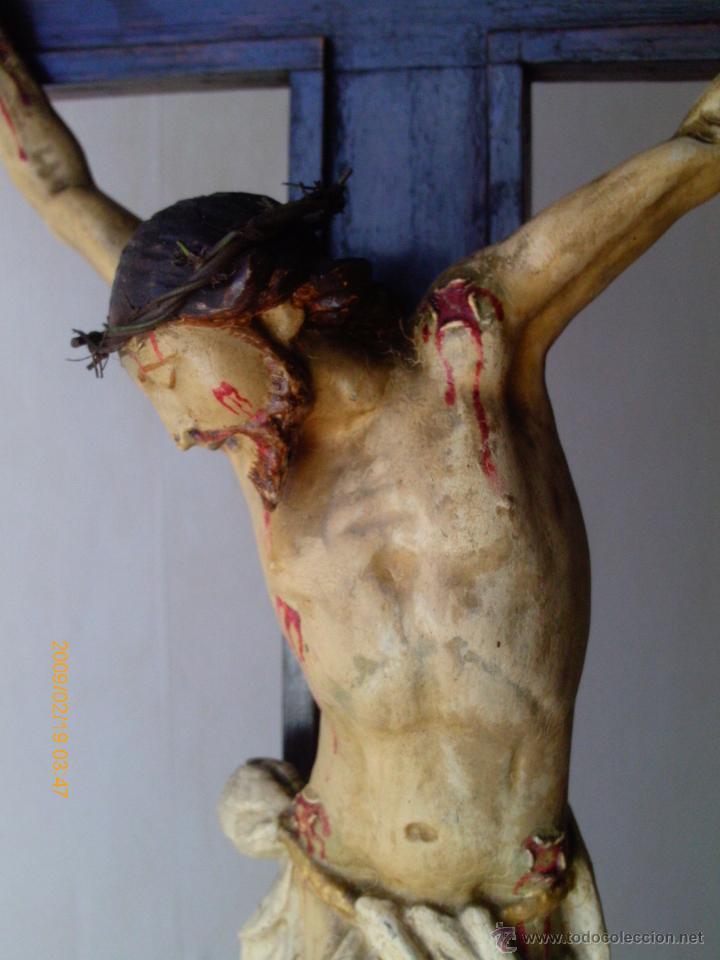 Arte: CRISTO CRUCIFICADO S.XVII - XVIII -ESCUELA GENOVESA -TALLA MADERA - POLICROMADA - CRUCIFIJO - Foto 16 - 171695162