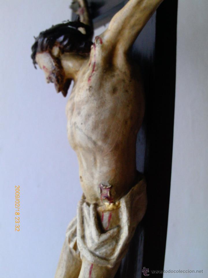 Arte: CRISTO CRUCIFICADO S.XVII - XVIII -ESCUELA GENOVESA -TALLA MADERA - POLICROMADA - CRUCIFIJO - Foto 17 - 171695162