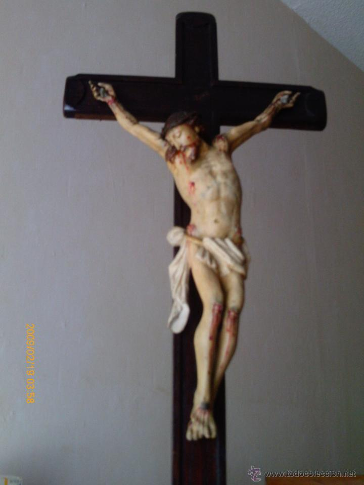 Arte: CRISTO CRUCIFICADO S.XVII - XVIII -ESCUELA GENOVESA -TALLA MADERA - POLICROMADA - CRUCIFIJO - Foto 20 - 171695162
