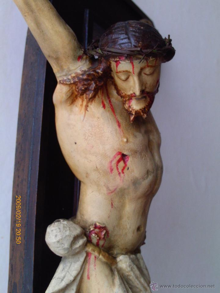 Arte: CRISTO CRUCIFICADO S.XVII - XVIII -ESCUELA GENOVESA -TALLA MADERA - POLICROMADA - CRUCIFIJO - Foto 22 - 171695162