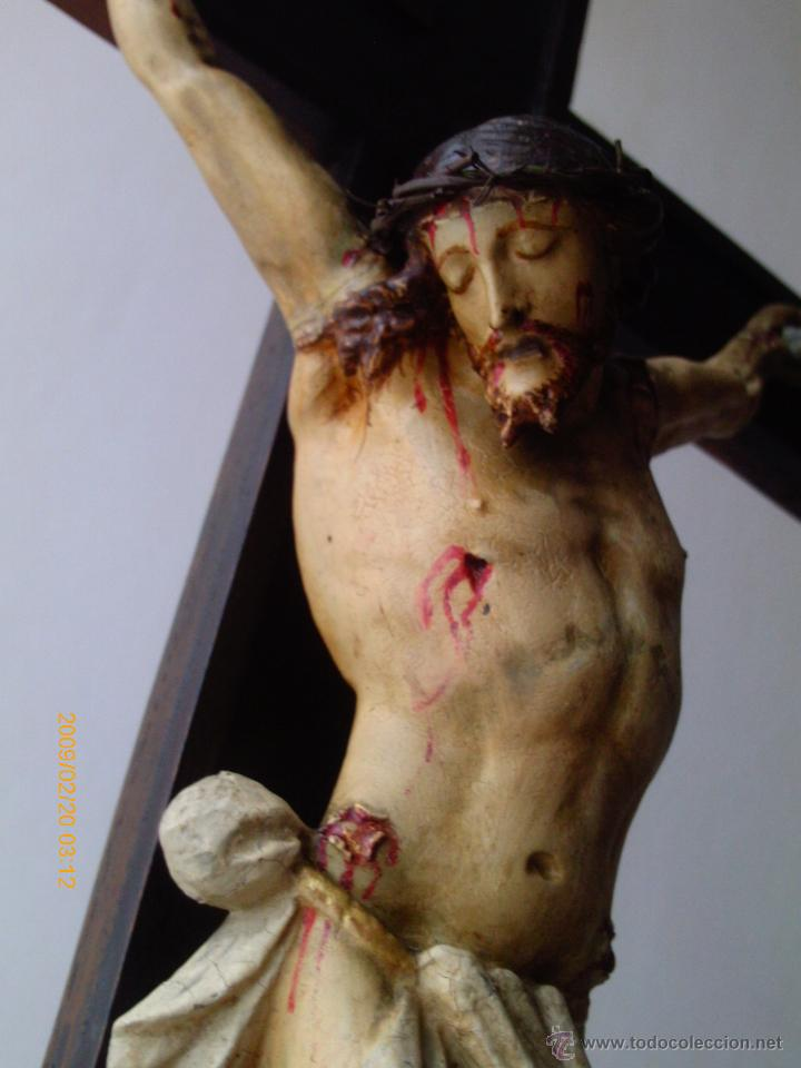 Arte: CRISTO CRUCIFICADO S.XVII - XVIII -ESCUELA GENOVESA -TALLA MADERA - POLICROMADA - CRUCIFIJO - Foto 2 - 171695162