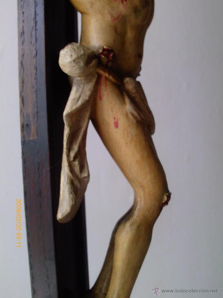 Arte: CRISTO CRUCIFICADO S.XVII - XVIII -ESCUELA GENOVESA -TALLA MADERA - POLICROMADA - CRUCIFIJO - Foto 4 - 171695162