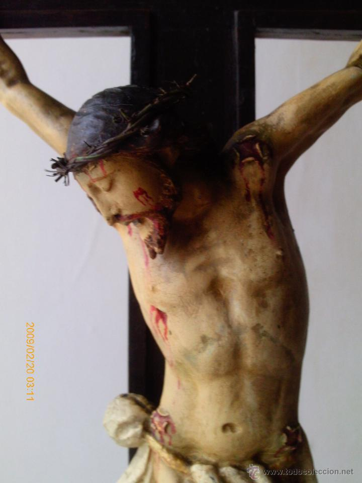 Arte: CRISTO CRUCIFICADO S.XVII - XVIII -ESCUELA GENOVESA -TALLA MADERA - POLICROMADA - CRUCIFIJO - Foto 9 - 171695162