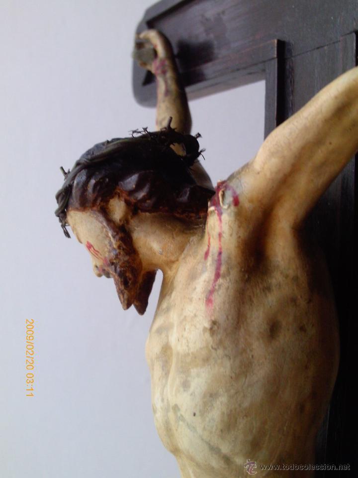 Arte: CRISTO CRUCIFICADO S.XVII - XVIII -ESCUELA GENOVESA -TALLA MADERA - POLICROMADA - CRUCIFIJO - Foto 12 - 171695162