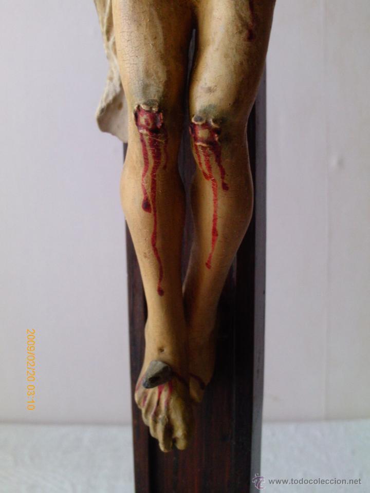 Arte: CRISTO CRUCIFICADO S.XVII - XVIII -ESCUELA GENOVESA -TALLA MADERA - POLICROMADA - CRUCIFIJO - Foto 14 - 171695162