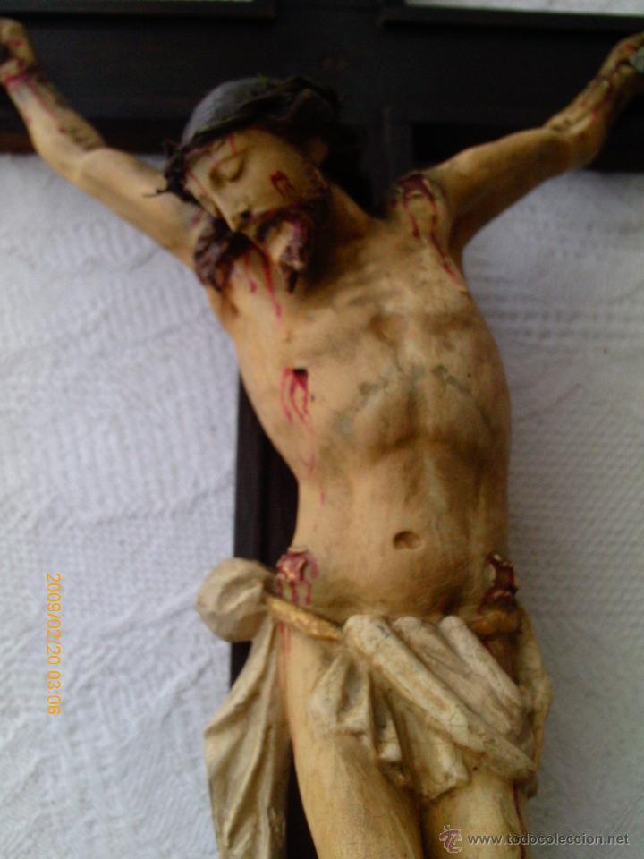 Arte: CRISTO CRUCIFICADO S.XVII - XVIII -ESCUELA GENOVESA -TALLA MADERA - POLICROMADA - CRUCIFIJO - Foto 3 - 171695162