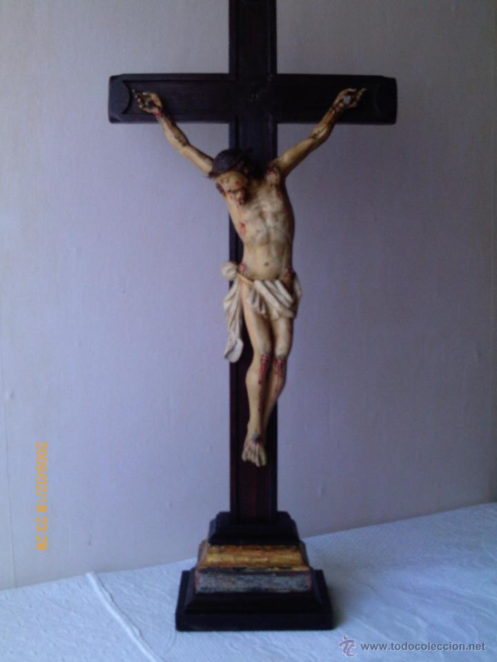 Arte: CRISTO CRUCIFICADO S.XVII - XVIII -ESCUELA GENOVESA -TALLA MADERA - POLICROMADA - CRUCIFIJO - Foto 10 - 171695162