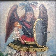 Arte: REPLICA MINIATURA ARCANGEL COLONIAL CON MARCO TRABAJADO (18 X 22 CM). Lote 42866825