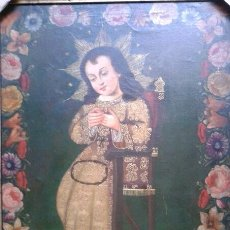 Arte: BELLISIMO NINO DIOS COLONIAL AL OLEO SOBRE TELA - REPLICA (55 X 75 CM). Lote 42871653