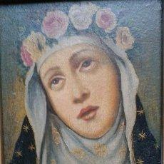 Arte: SANTA ROSA COLONIAL AL OLEO CON MARCO ARTESANO EN MADERA Y ORO FINO (51 X 46 CM). Lote 42871793