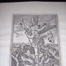 Arte: GRABADO - S MIGUEL ARCANGEL , GRABADO POR NOGUES F., S,XVIII , PEGADO EN UNA CARTULINA. Lote 42875617