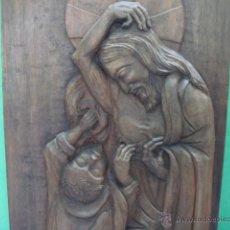 Arte: RETABLO TALLA DE MADERA MURAL DE UNA SOLA PIEZA ESCENA RELIGIOSA MUY ELAVORADA VER IMAGEN. Lote 42985191