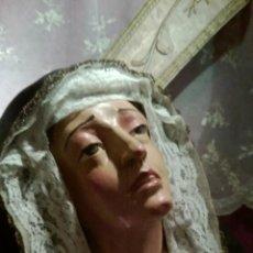 Arte: FANTASTICO BUSTO DE VIRGEN DOLOROSA, EN TERRACOTA A MANO, ESCUELA ORTEGA BRU. Lote 43083248